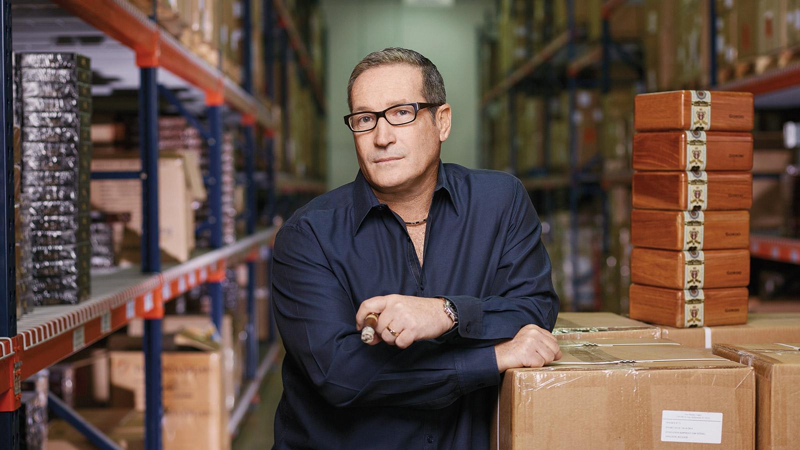 Alan Rubin, owner of Alec Bradley cigars, in his warehouse in Dania, Florida.