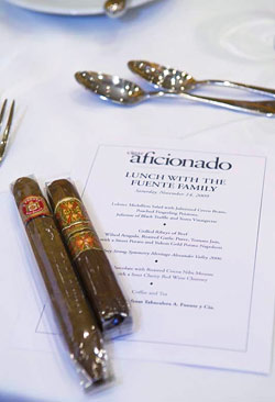 The menu included an Arturo Fuente Hemingway, and a 12-year-old Fuente Fuente OpusX.