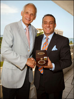 Dr. Reto Cina, CEO of Oettinger Davidoff Group, left, and Michael Chiusano, president, Cusano Cigars.