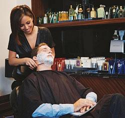 The barbershop inside Kim Vo Salon, located in the Mirage.