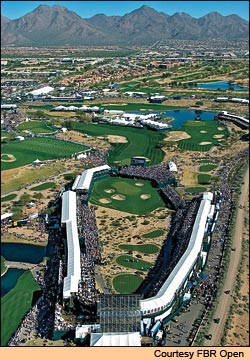 There is nothing like the 16th hole anywhere in professional golf. This year, the grandstands were extended to completely surround the par-3 hole, which plays shorter than its 162 yards.