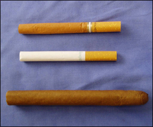A little cigar, top, as compared to a cigarette, middle, and a cigar, bottom.