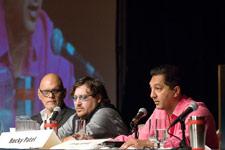 Erenesto Perez-Carrillo, Jonathan Drew and Rocky Patel address the crowd.