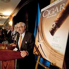 Marvin R. Shanken, the editor and publisher of Cigar Aficionado, addressing the crowd. 