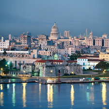 The skyline of Havana, Cuba.