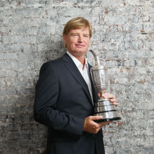 Ernie Els holds the Claret Jug, the trophy for the Open Championship. It's the second time that he has captured th