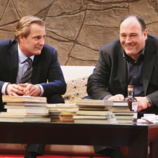 Gandolfini, right with Jeff Daniels, earned a Tony nomination for his Broadway role in God of Carnage.