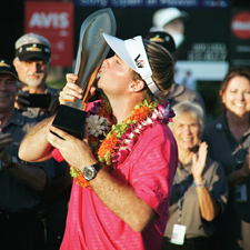 In his first start as a PGA Tour member,  Russell Henley won the Sony Open in Hawaii in January, running away from the fie