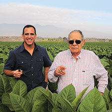 Father and son, José O. Padrón (right) and Jorge Padrón survey  a field of Cuban-seed tobacco that is destined to bear their name.