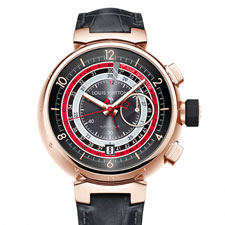 The new Tambour Voyagez II 18-karat pink gold watch from Louis Vuitton. Only 88 pieces were crafted.