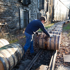 The barrel rails at Woodford Reserve Distillery.