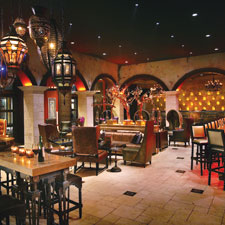 The interior of Burn by Rocky Patel in Naples, Florida. The opulent spot is part of a growing trend of branded cigar lounges opening worldwide.