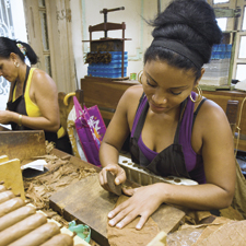 Quality control at cigar factories in Cuba has been improved at every level of the production process, from the rolling tables, shown here at Romeo y Julieta, to the final sorting and packaging.