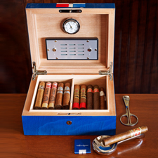 The cigar menu includes non-Cubans and a handful of rare, pre-Castro Cuban cigars.