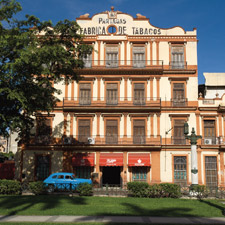 Partagás, the most famous cigar factory in Cuba, is a weathered but gorgeous landmark with distinctive architecture that was built in 1845.