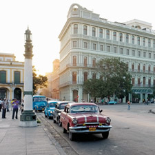 The Hotel Saratoga fronts the main square of Havana near the Capitol and the Partagás Factory.