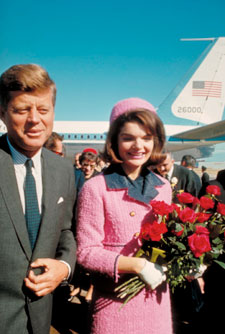 President John F. Kennedy and First Lady Jacqueline Kennedy arrive in Dallas on a political trip.