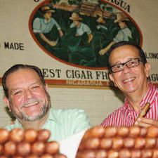 Dr. Alejandro Martinez Cuenca, owner of Joya de Nicaragua S.A., left, with José Blanco.