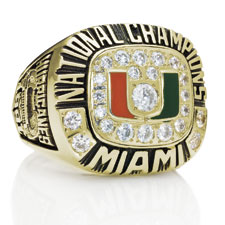 The 1991 Miami Hurricanes' national championship ring.