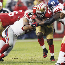 Combine the crushing running power of Frank Gore (above) with new wideout star Mario Manningham and the 49ers should rumble to big wins in 2012.