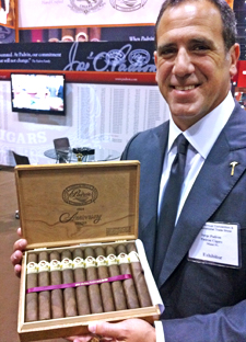 Jorge Padrón shows off a box of the new 1964 Anniversary Series No. 4 cigar at the recent IPCPR trade show.