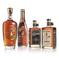 Consumers are starting to see hyperpremium American whiskeys like Michter's Celebration, left, Booker's 25th Anniversary, Old Blowhard and Barterhouse on shelves.