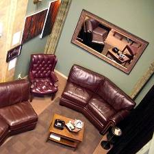The back lounge of 2nd Street Cigars & Gallery.